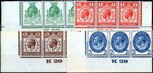 GB-1929-Upu-Ensemble-de-4-SG434-437-Fin-MNH-Controle-K29-Bandes-de-3