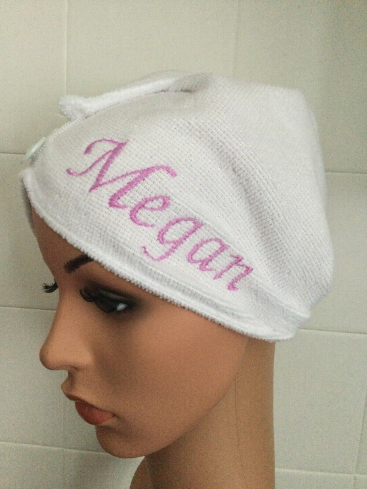 Girls Personalised embroidered hair turban wrap towel cap hat turbie gift idea