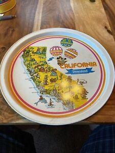 Vintage-1960-039-s-California-Disneyland-Walt-Disney-Plate-Metal-Tray-Souvenir-11-034