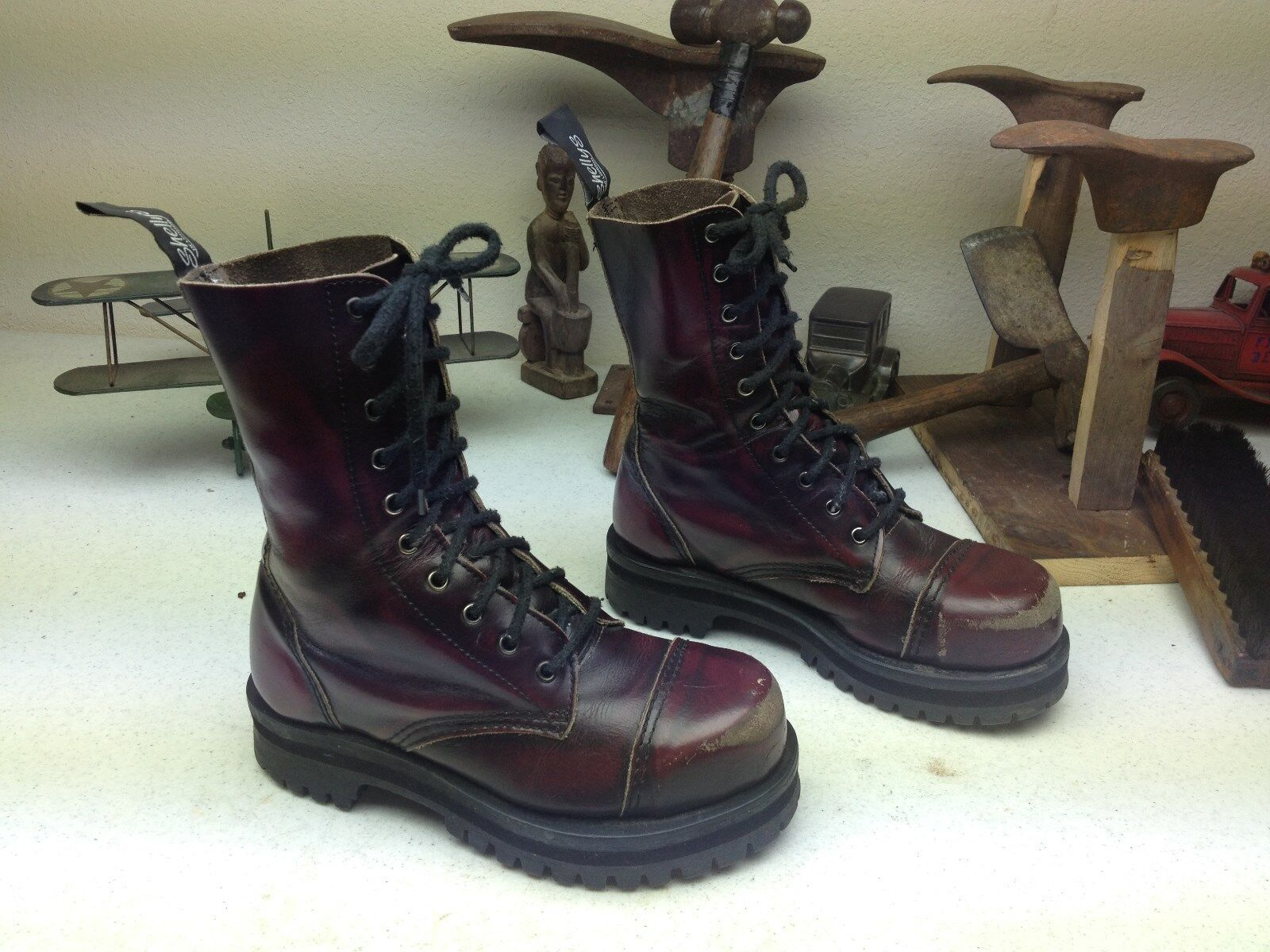 SHELLY'S OF LONDON BURGUNDY DISTRESSED LEATHER LEATHER LEATHER COMBAT LACE UP ARMY Stiefel 5-6 M 320f52