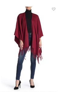 Portolano Women/'s Ruana Fringe Trim Wool Shawl in Garnet Red MSRP$135