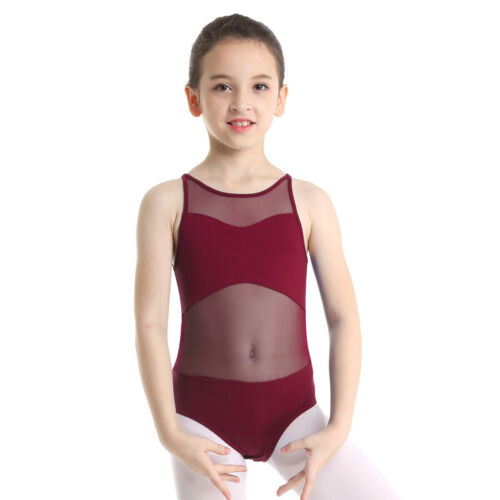 Girls Ballet Dance Leotard Sleeveless Floral Lace Splice Gymnastic Bodysuit