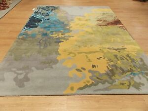 8 X 10 Gray Yellow Green Blue Contemporary Hand Tufted