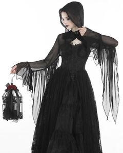 Dark-In-Love-Womens-Hooded-Gothic-Mesh-Bolero-Shrug-Top-Black-Witch-Occult-Punk