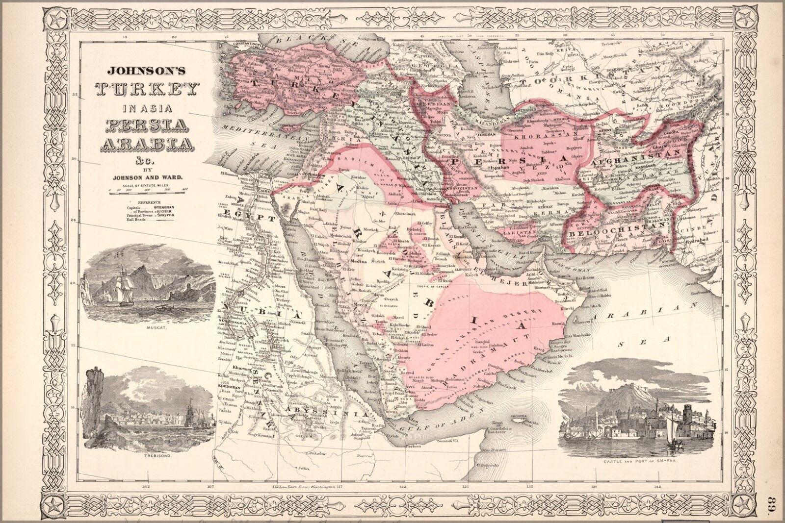 Poster, Many Größes; Johnson Map Of Turkey In Asia  Persia Arabia 1864