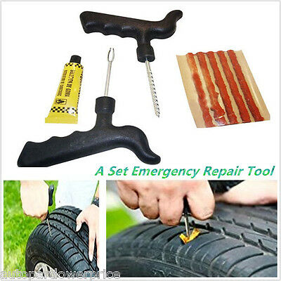Car Motor Emergency Tubeless Tire Tyre Puncture Repair Kit 5 Strips Plug Tool