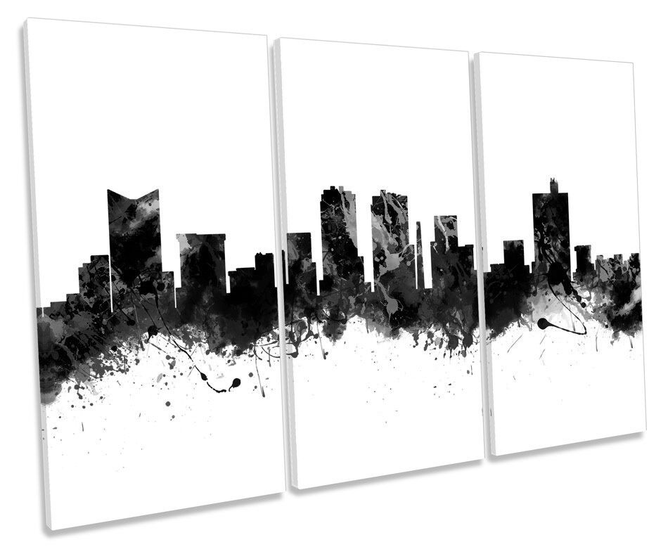 FORT WORTH TEXAS CITY SKYLINE B&W triplicare triplicare triplicare CANVAS Wall Art Box incorniciato PICTURE 6df772