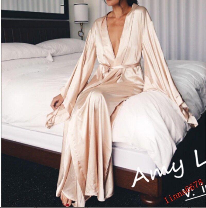 Oversize Womens Real Silk Kimono Loose Dresses Coat Sleepwear Occident Occident Occident Dress Top 245ee2