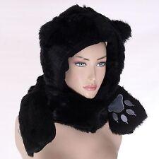 Black Cat Faux Fur Full Animal Hood Hat Winter Warmer Cap 3 in 1 Function