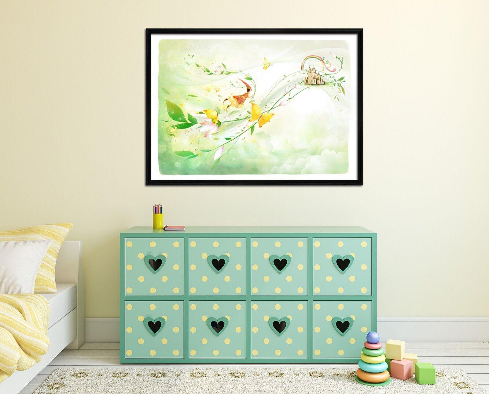 3D Mariposa Castillo 67 Enmarcado Póster Decoración del Hogar Pintura de Impresión Arte AJ Wallpaper