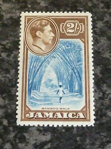 JAMAICA-POSTAGE-STAMP-SG131-2-BLUE-amp-CHOCOLATE-LIGHTLY-MOUNTED-MINT