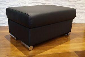 echtleder hocker aufklappbar mit stauraum sitzhocker rindsleder sitzw rfel 75x55 ebay. Black Bedroom Furniture Sets. Home Design Ideas