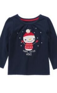Gymboree-Holiday-Shop-2T-Snowman-Winter-Wishes-Shirt-Navy-Blue-15