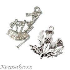 Bag Pipes Scottish Bagpipes 3D 925 Sterling Silver Dangle Charm Carrier Bead