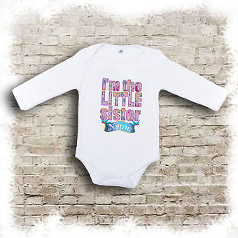 sister t-shirts bodysuits and bibs. Personalised I/'m the little brother