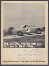 "1962 Sunbeam Alpine Convertible photo ""Won It's Price Class at Sebring"" print ad"