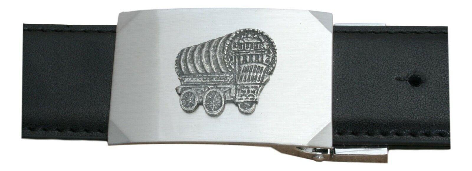 Romany Caravan Design Belt and Buckle Set Black Leather Romany Gift 448