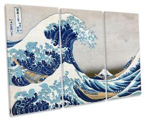 Katsushika-Hokusai-La-Gran-Ola-De-Kanagawa-LONA-pared-arte-panel-de-tres