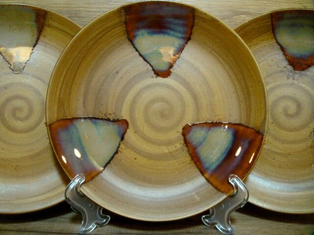 "SET OF 3 - SANGO - SPLASH - 8 1/4"" SALAD PLATES - EARTH TONE STONEWARE # 4951"