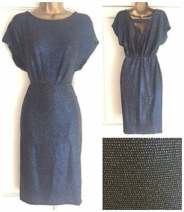 NEW-EX-DEBENHAMS-COLLECTION-BLUE-SPARKLY-SILVER-GLITTER-PARTY-DRESS-SIZE-8-16