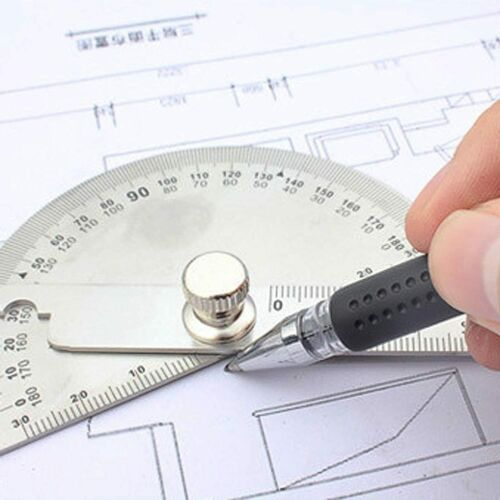 Stainless Steel Round Head Dual Arm 180 ° Protractor Angle FinderRotary Ruler