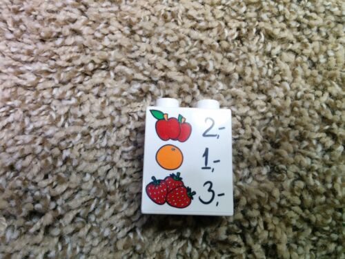 1 lego duplo 1X2X2 brick printed milk fruit food coffee ice cream juice pick