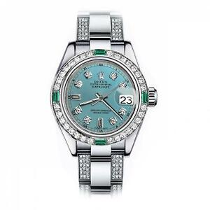 Rolex-Emerald-and-Diamond-26mm-Datejust-Stainless-Steel-Ice-Blue-Color-Dial-Watc