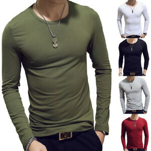 4ff62c5589 Mens Slim Fit Long Sleeve T-shirts Casual Tee Shirt Tops Pullover ...