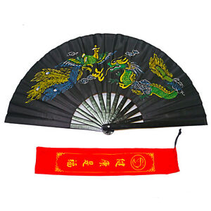 13-034-Chinese-Tai-Chi-Martial-Arts-Kung-Fu-Bamboo-Fan-Black-Dance-Practice-Folding