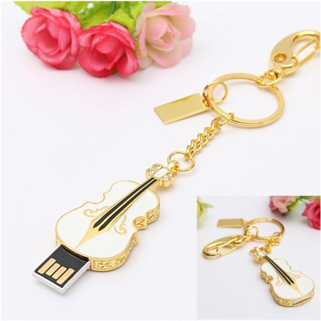 32GB Cute Crystal Violin Model USB 2.0 Flash Memory Thumb Stick Fashion U Disk