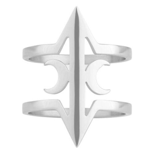 Killstar Gothic Okkult Wiccan Edelstahl Ring Eris Mond Mondsichel