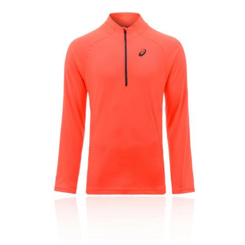 Asics Mens Half Zip Running Top Orange Sports Breathable Lightweight