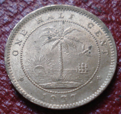 1937 Liberia Half Cent In Au Condition High Quality Goods