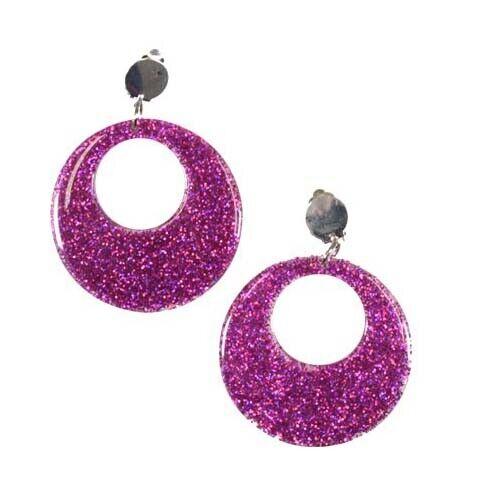 60s Style Mod PINK Clip-on Earrings Festival Dance Fancy Dress