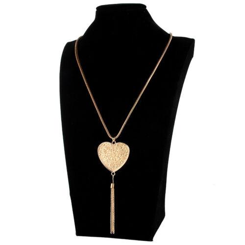 1X Or//Argent Plaqué Cœur Forme Pendentif Tassel Collier Jewelry Sweater Chain