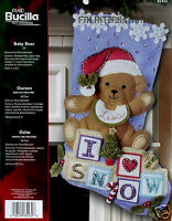 Bucilla Baby Bear 18 Felt Christmas Stocking Kit 85432 Santa, I Love Snow