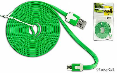 6ft Micro USB Data Sync Charging Heavy Duty Flat Noodle Tangle Free Cable Cord