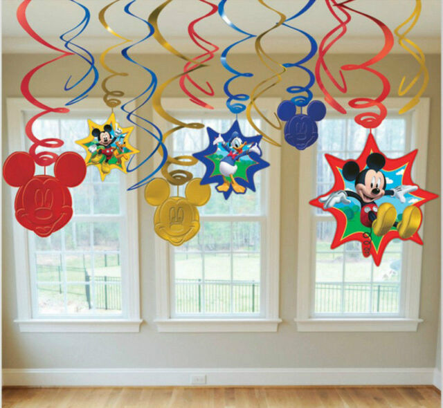 Mickey Mouse Birthday Dangling Swirl Decorations 12 Pieces Party Supplies Favors