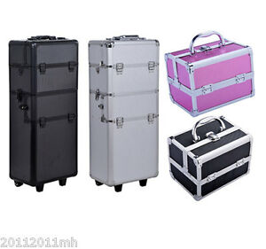 HOMCOM-Aluminum-Rolling-Makeup-Train-Case-Trolley-Organizer-Storage-Box-Lockable
