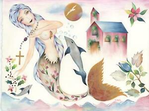 MERMAID ARTISTIC NUDE WOMAN OCEAN COTTAGE DOLPHIN ROSE GARDEN SPIRITUAL PAINTING