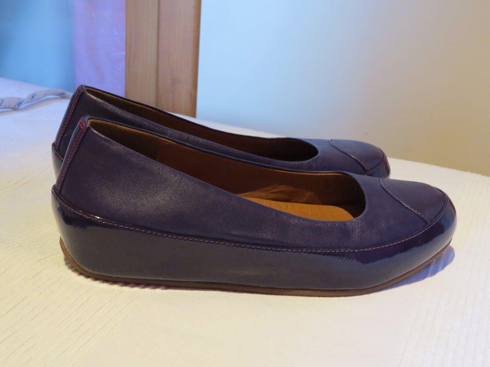 FITFLOP™ DUE PURPLE LEATHER PLATFORM BALLERINA PUMPS Schuhe UK 6 EUR 39