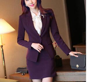 Elegante-Tailleur-completo-donna-viola-giacca-manica-lunga-gonna-7090