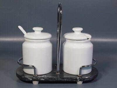 Art Deco MENAGE für 2 Marmeladen Senf Meerettich uvm Marmor Chrom & Porzellan 1A