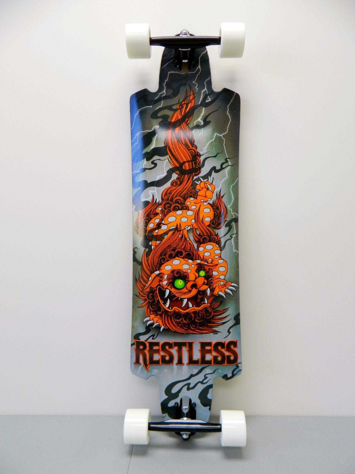 Restless 10  Pro Drop Thru Topmount Longboards Complete Glow in Dark Wheels