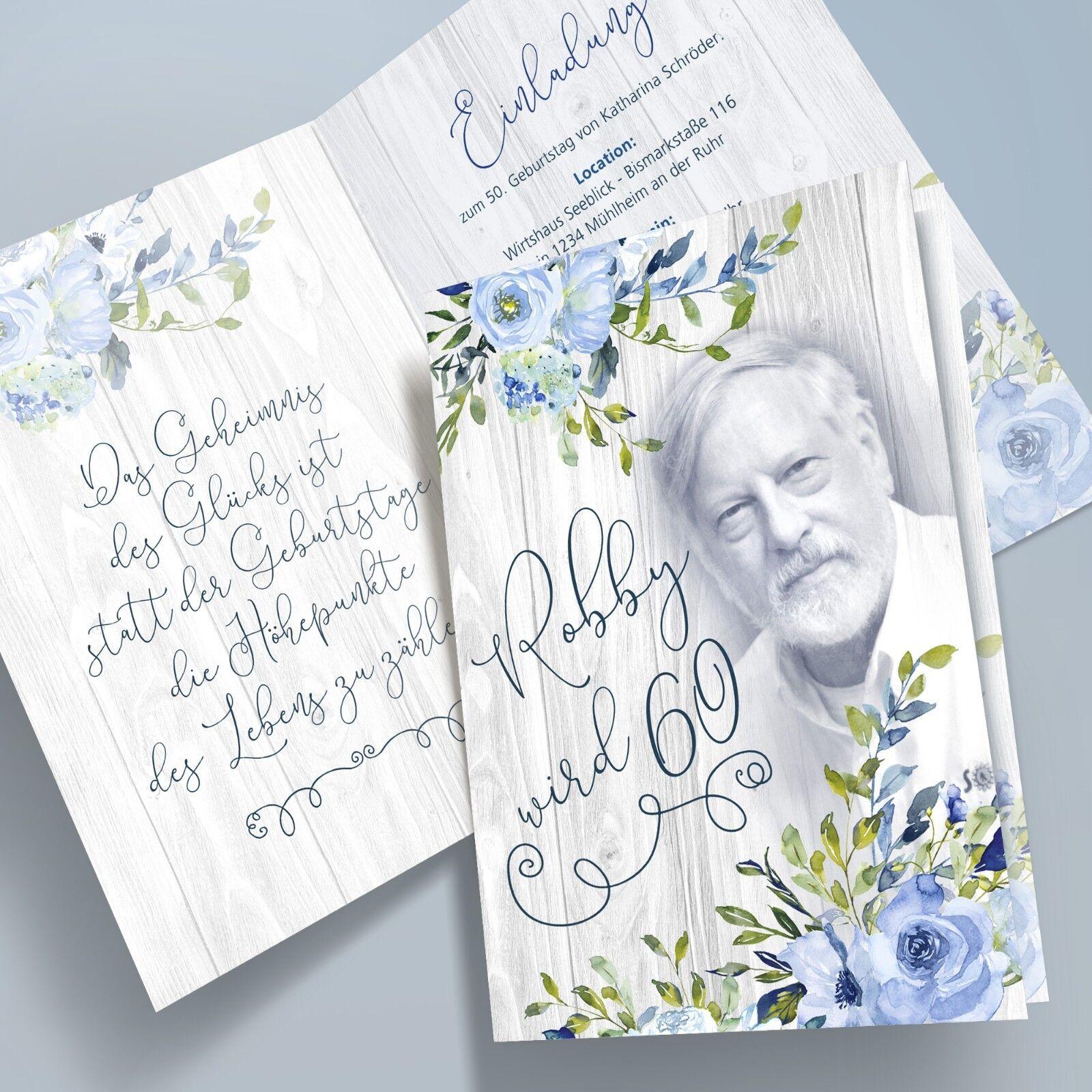 Personalisierte Einladungskarten Geburtstag    Aquarell , Blaumen, Boho-Style bl 1 6c9d26