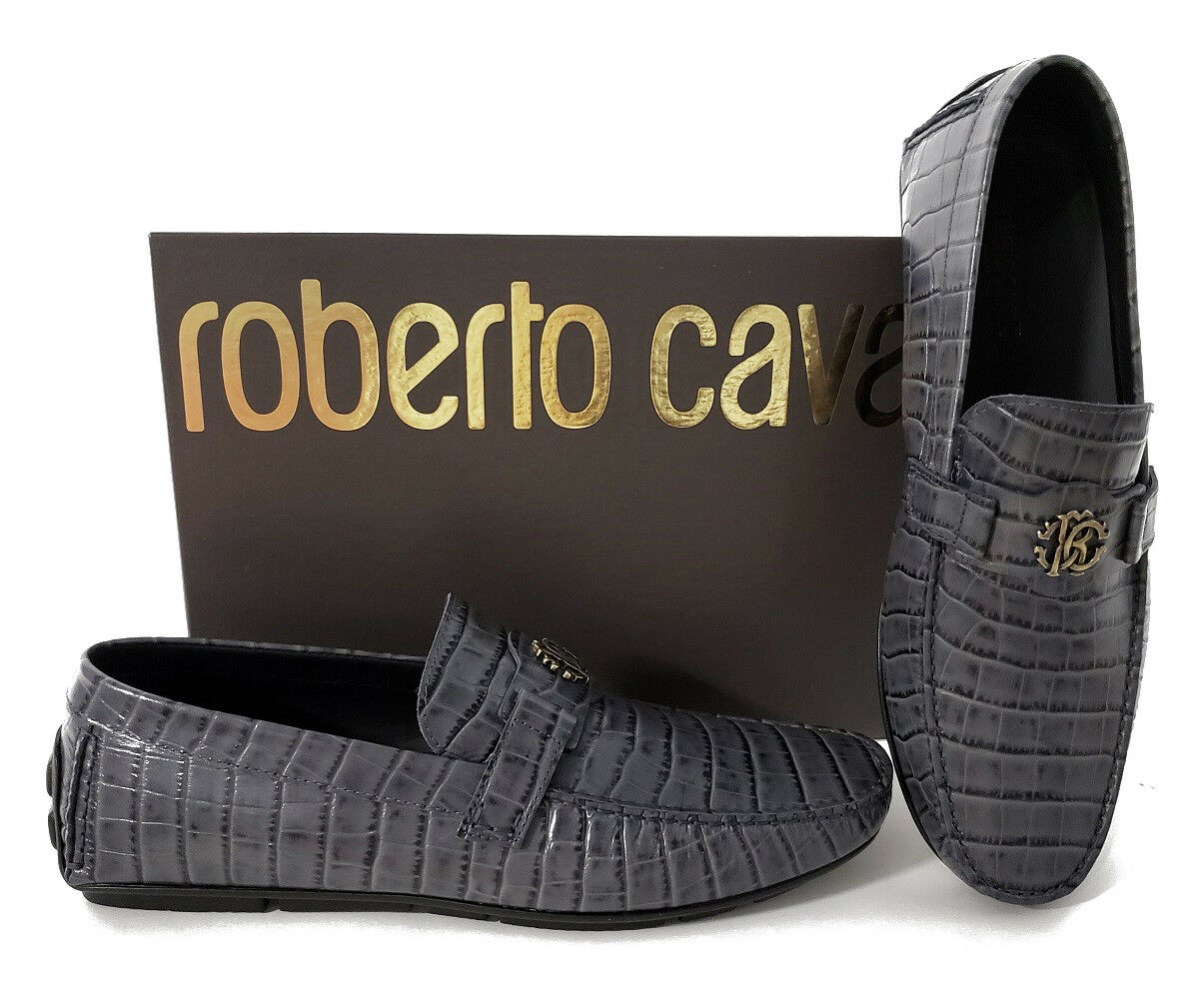 NEW ROBERTO CAVALLI GREY CROCODILE PRINT  LEATHER LEATHER LEATHER LOAFERS SHOES 43 - 10 41e287