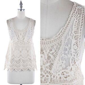 Crochet-Sleeveless-Scoop-Neck-Scalloped-Hem-Tank-Top-Casual-Cotton-S-M-L