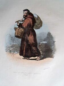 0-47 Lithographie Aquarellée 1862 Costumes Cour De Rome - Frère Lai Capucin