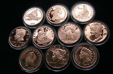 Motive alter Münzen 10 x 1 Unze Kupfer, 10 x 1 Oz Copper Round, Kupfermedaillen