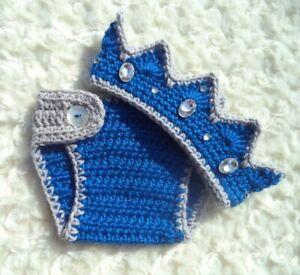 Crochet Baby Prince Crown Blue Crochet Diaper Cover Set Crochet Crown Outfit